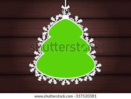 Wooden background with empty frame as Christmas tree - stock vector