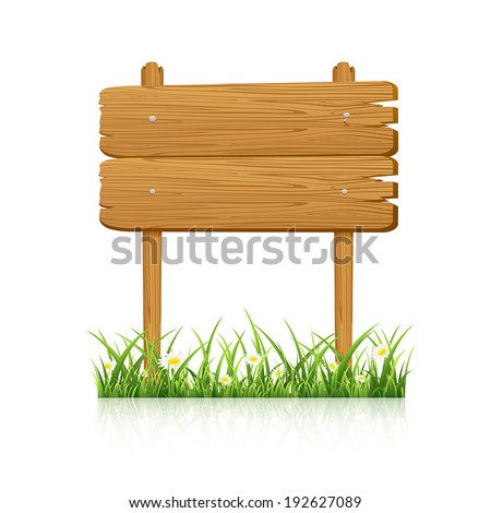 Wooden banner in grass with flower isolated on white background, illustration. - stock vector
