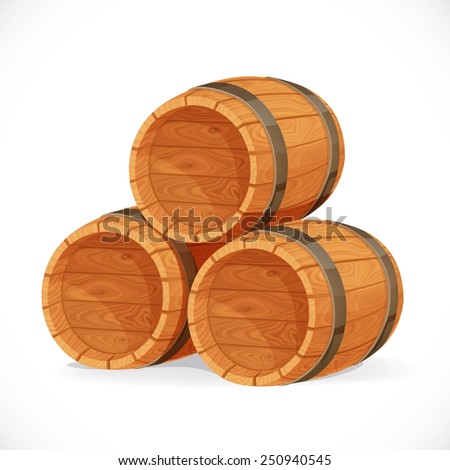 Wooden barrels isolated on white background - stock vector