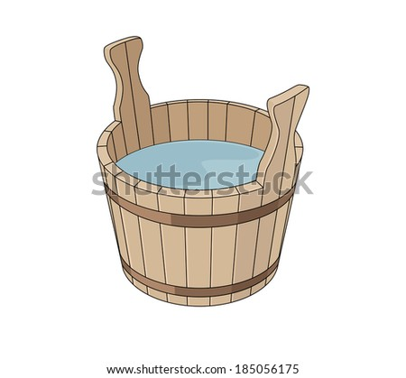 Wooden basin with water - stock vector
