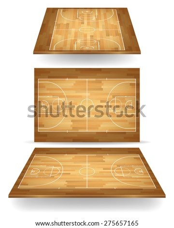 Wooden basketball court with perspective. Vector EPS10 illustration.  - stock vector