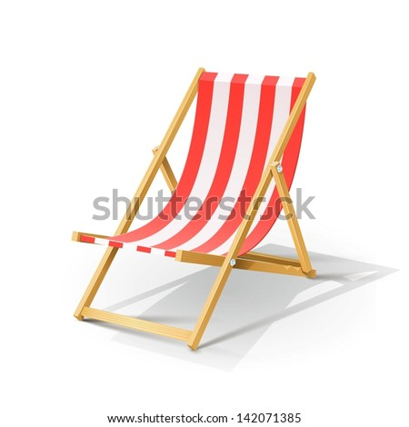 wooden beach chaise longue vector illustration isolated on white background EPS10. Transparent objects and opacity masks used for shadows and lights drawing