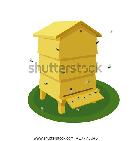 Wooden Beehive with bee on a white background. Traditional  beehive. Cartoon illustration of a beehive. Stock vector - stock vector