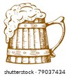 wooden beer mug with the foam which flows from it - stock vector