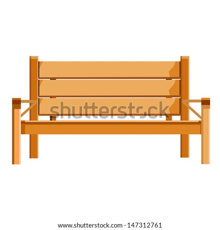Wooden bench isolated illustration on white background