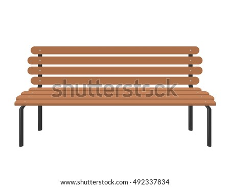Wooden Bench Isolated On White Background Park Brown Vector In Flat Style View Preview