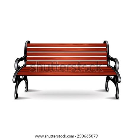 Wooden bench isolated on white photo-realistic vector illustration - stock vector