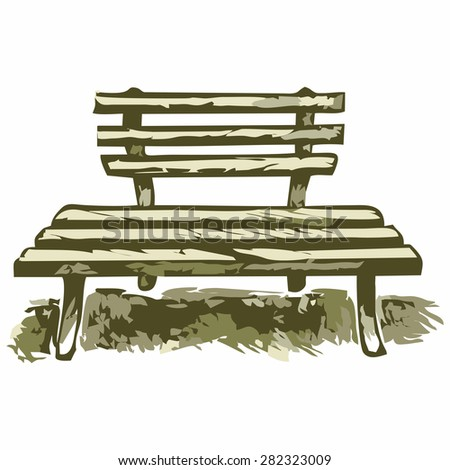 Wooden bench. Shades of green and yellow. Doodle style - stock vector
