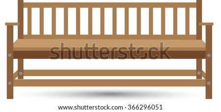 wooden bench with shadow on a white background - stock vector