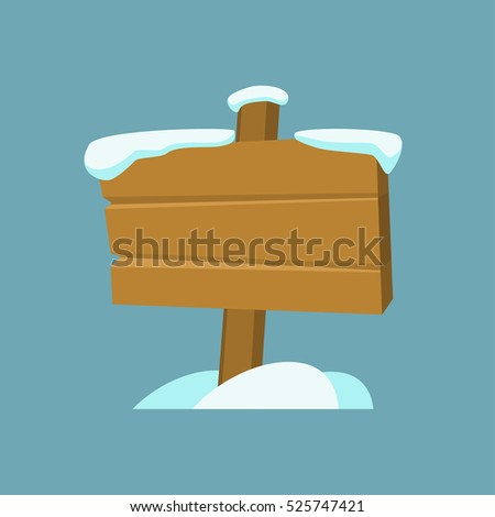 Wooden billboard with snow for Merry Christmas and Happy New Year design or text