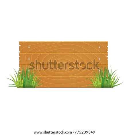 Wooden blank board signs spring time with grass. Vector illustration.