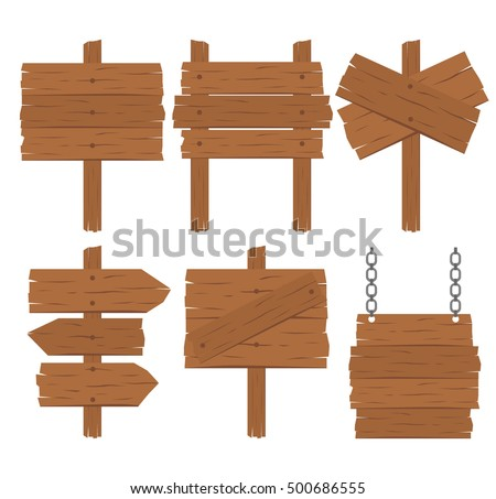 wooden blank signs set on white background