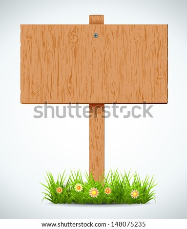 wooden board. A pointer to a white background. Plants. Vector.