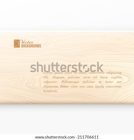 Wooden board on white background. Vector illustration. - stock vector