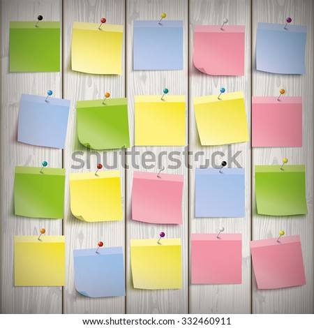 Wooden board with colored sticks. Eps 10 vector file. - stock vector