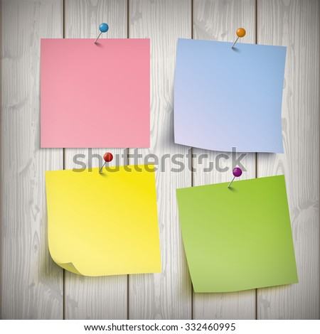 Wooden board with 4 colored sticks. Eps 10 vector file. - stock vector