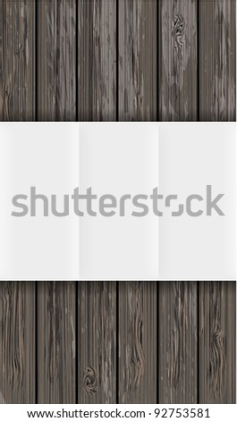 wooden board with paper. Vector background with place for your text. Eps 10 - stock vector