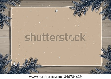 Wooden board with photo and place for inscription. Christmas pine twigs and spruce branches. Christmas border. Inspiration board. Christmas mockup. Vector, EPS 10. - stock vector