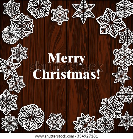 Wooden board with snowflakes. Merry Christmas wooden board. Vector background EPS 10. - stock vector