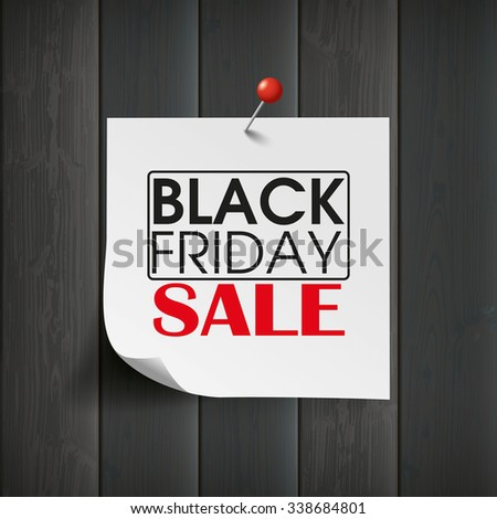 Wooden board with stick and text Black Friday Sale. Eps 10 vector file. - stock vector