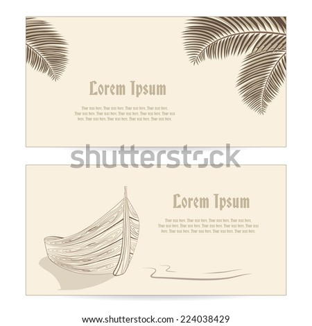Wooden Boat at summer beach and palm leaves retro business cards set