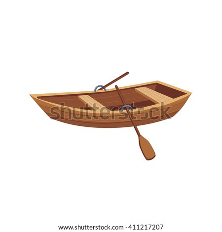 Wooden Boat With Peddles Cartoon Simple Style Colorful Isolated Flat Vector Illustration On White Background