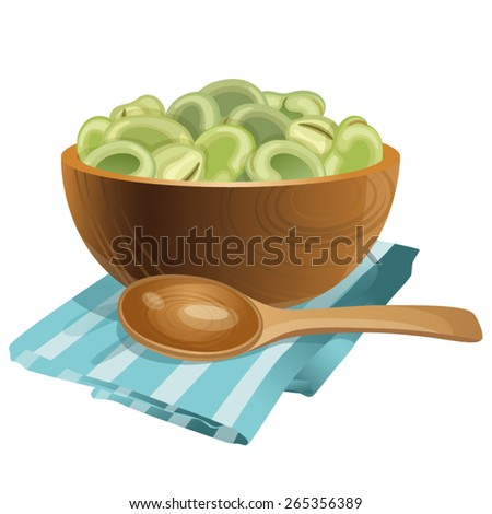 Wooden bowl with beans in it / Wooden bowl stands on the blue stripe napkin. There are a lot of big green beans in the bowl and in front of the bowl it is wooden spoon.   - stock vector