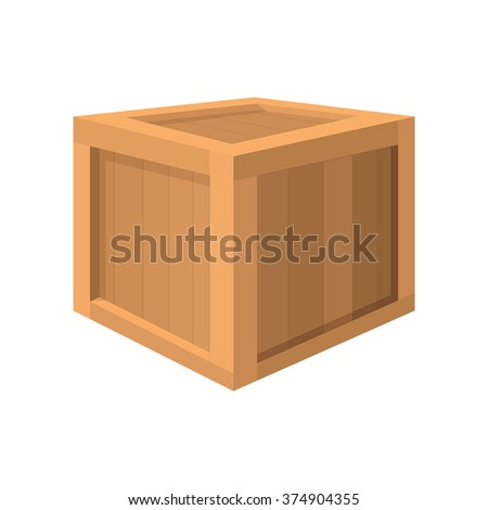 Wooden box cartoon icon on a white background - stock vector