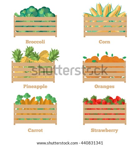 Wooden box with fruits and vegetables. Vector illustration of the harvest. Isolated objects of fresh, natural food. Cart with products for supermarket. Diet and organic food template. - stock vector