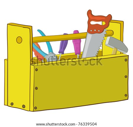 Wooden box with operating tools, Isolated, vector - stock vector