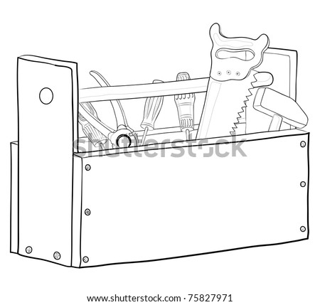 Wooden box with operating tools, vector, contours - stock vector