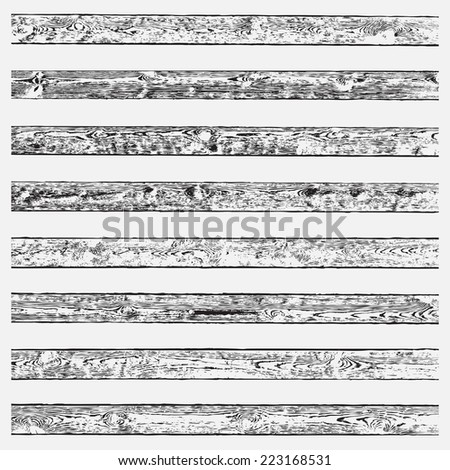 Wooden Brushes Set for your design. High detailed wooden planks overlay textures, may be used as brushes or separate backgrounds. EPS10 vector. - stock vector