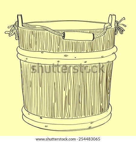 Wooden bucket handmade. - stock vector