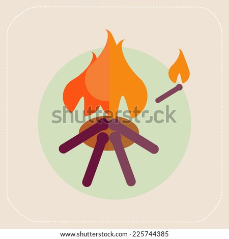 Wooden camp fire icon - stock vector