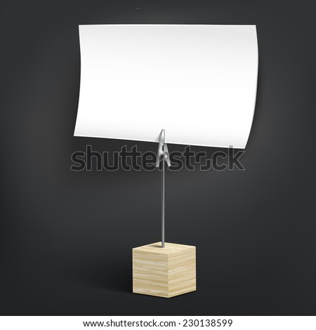 wooden card holder isolated on black background - stock vector