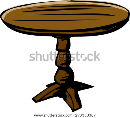 Wooden Cartoon Round Table Over White Stock Vector 293330387