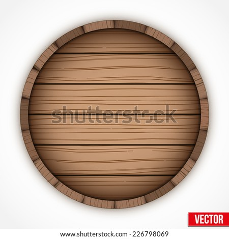 Wooden cask for alcohol drinks emblem. Vector illustration isolated on white background. - stock vector