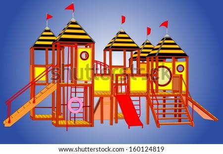 Wooden castle gazebo vector. Children playground illustration isolated on blue background.  - stock vector