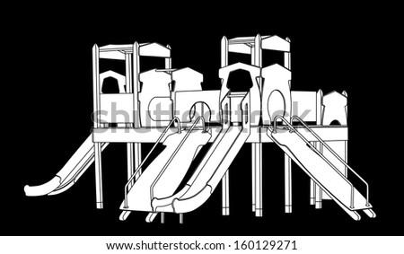 Wooden castle vector. White children playground gazebo illustration isolated on black background.  - stock vector