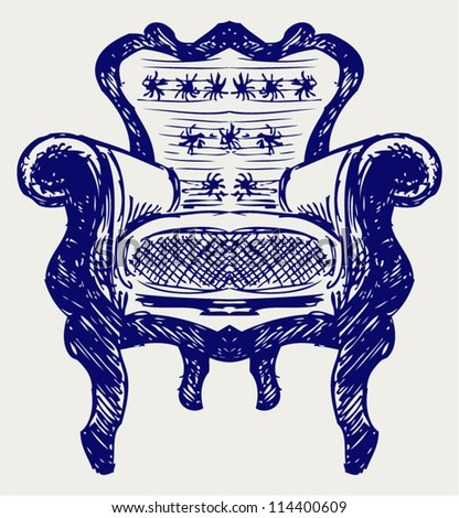 Wooden chair upholstered in leather. Doodle style - stock vector