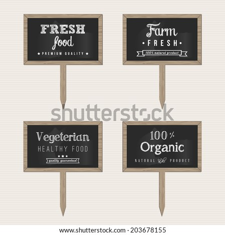 Wooden Chalk Food Signs - stock vector