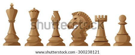 Wooden chess pieces with king and queen - stock vector