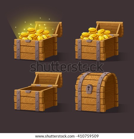 Wooden Chest set for game interface.Vector illustration. treasure chest of gold coins on dark background: closed, empty, chest with golden coins. - stock vector