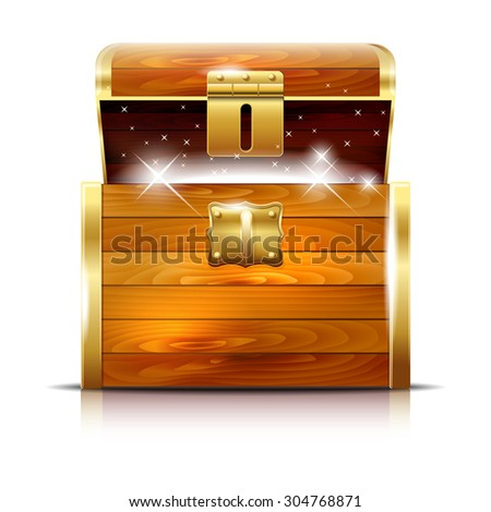 Wooden chest with glowing treasure on white background - vector illustration - stock vector