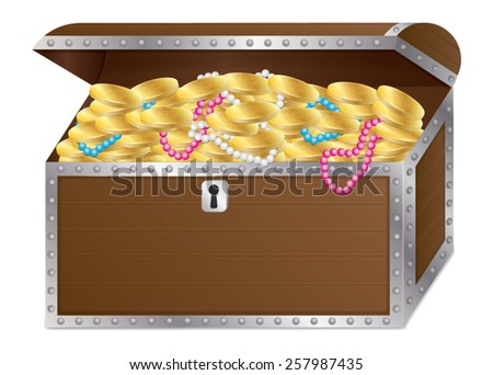 Wooden chest with gold coins and necklaces vector isolated - stock vector