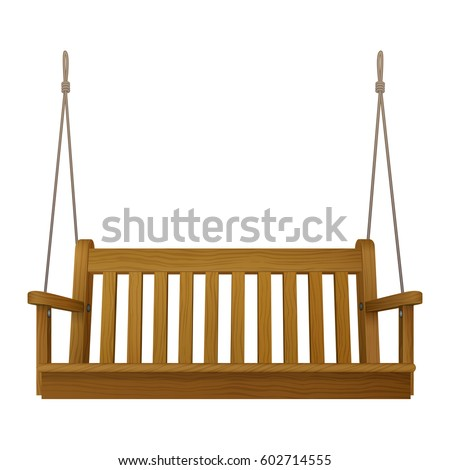 Wooden Classic Outdoor Hanging Patio Porch Swing Bench Furniture With Ropes  Isolated On White Background.