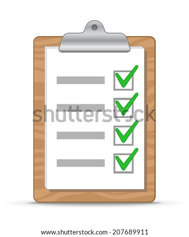 Wooden clipboard with a sheet of paper. To do list. Vector Illustration - stock vector