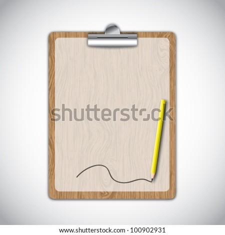 Wooden clipboard with line by yellow pencil. - stock vector