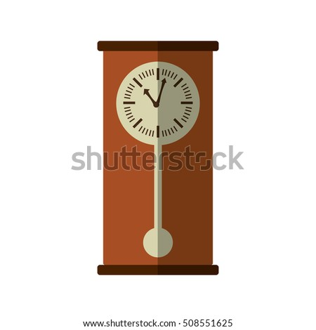 wooden clock antique isolated icon vector illustration design