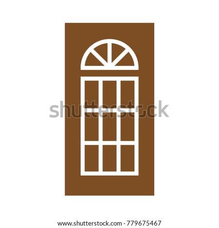 Wooden Closed Front Door Entrance Modern Interior Design. Minimal Flat Line  Outline Solid Icon Illustration